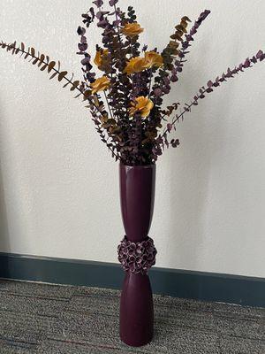 Tall purple vase + paper flowers for Sale in Phoenix, AZ