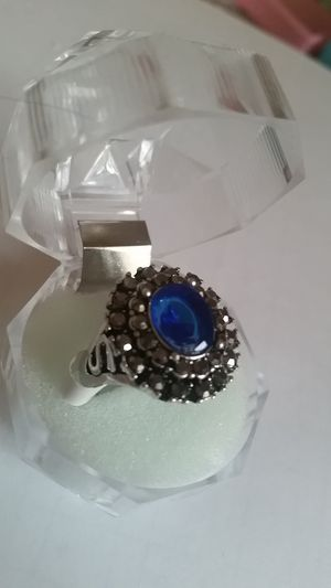 Vintage Silver Plated Blue Zircon Ring. Size 8 for Sale in Colorado Springs, CO