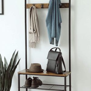 Industrial Coat Rack, Hall Tree Entryway Shoe Bench, Storage Shelf Organizer, Accent Furniture with Metal Frame for Sale in Corona, CA