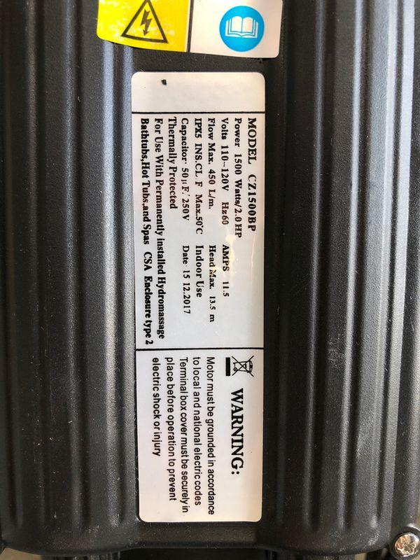 1500 watt 2hp 7140 GPH Spa bathtubs hot tubs hydro massage water pump 120v