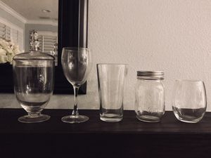 Apothecary / candy mason jars, pub & wine glasses & stemless wine glasses - 12 pieces for Sale in Santa Ana, CA