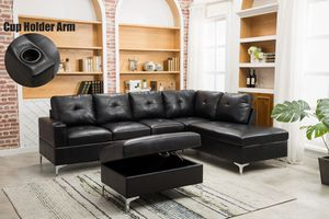 (JUST $54 DOWN) Brand New Black Sectional with Ottoman(Financing and Delivery available) for Sale in Carrollton, TX