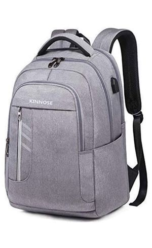 KINNOSE Laptop Backpack Water Resistant College School Computer Bag Travel Business Lightweight Knapsack with USB Charge Port (Light Grey) for Sale in New York, NY