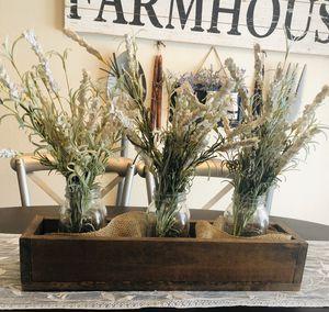 Farmhouse Planter Box Centerpiece with mason jars for Sale in Cape Coral, FL