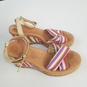 Ugg Nysa Stripe Wedge Sandals Size 8 for Sale in Houston, TX