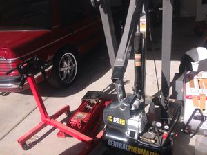 Pneumatic 125psi brand new . 2 ton engine lift brand new transmission jack brand new engine stand for Sale in Phoenix, AZ