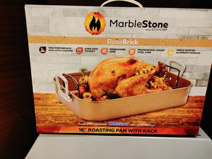 """Marble stone rose brick. 16"""" roasting pan with rack. For a turkey or a frost. Brand new for Sale in Alhambra, CA"""
