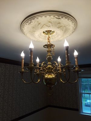 brass and white uplight chandelier for Sale in Adelphi, MD