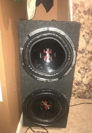 12 in Sony Subwoofers & Realm amplifier also comes with Amplifier Add-On Adapter and and cables!! I'll take 350 obo!!! for Sale in Aurora, CO