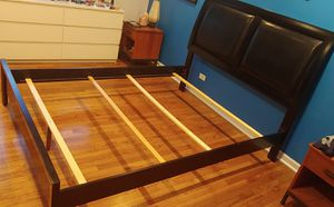 Queen Bed Frame Black Wood Leather for Sale in Glenview, IL