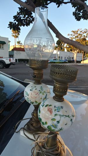 Antique hand painted electric lamps, BOTH have etched glass chimmney tops. for Sale in Oceanside, CA