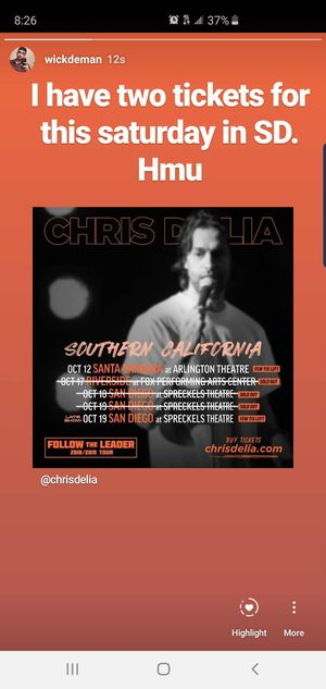 Two tickets for 10/19/19 for Sale in San Diego, CA