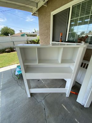 White Twin bed frame with shelves and drawers for Sale in Santa Fe Springs, CA