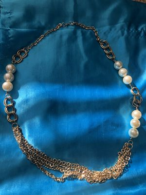 """Gold and pearl statement necklace 5 chains 16"""" drop for Sale in Glen Ellyn, IL"""