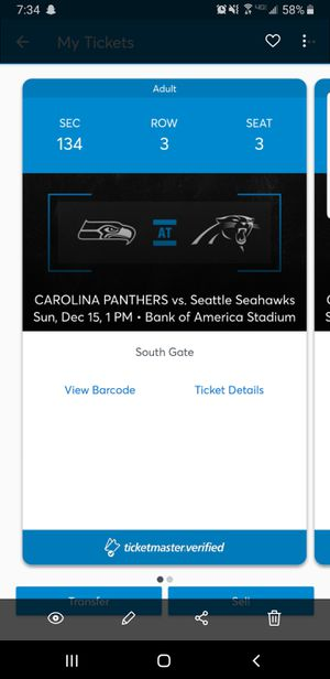 2 panther tickets for Sale in Thomasville, NC
