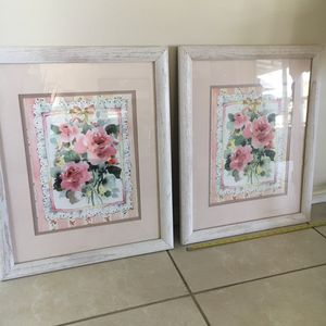 Pair of 18 x 23 Framed Floral Art - Home Decor for Sale in Yorba Linda, CA