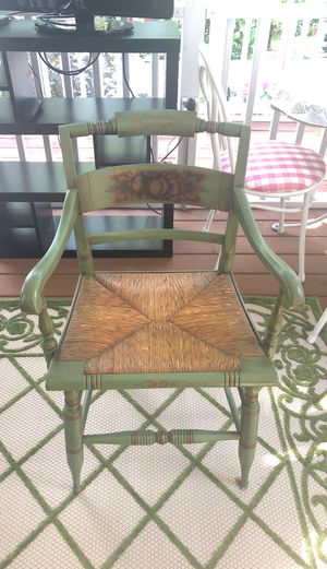 L. Hitchcock Stenciled Rush Bottom Chairs in rare green color. for Sale in New Buffalo, MI