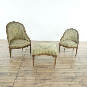 18th Century French Provincial Barrel Back Chairs & Ottoman (8022469) for Sale in San Bruno, CA