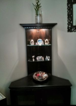 Wooden Corner Shelf with glass shelves on the top for Sale in Franklin, TN