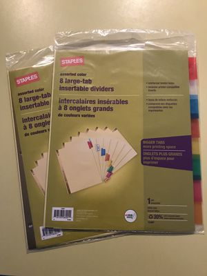 Staples 8 Large-Tab Insert Dividers 2 Pack for Sale in Great Falls, MT