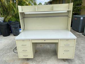 Steel desk 6 draws great shape with overhead light. for Sale in Loxahatchee, FL