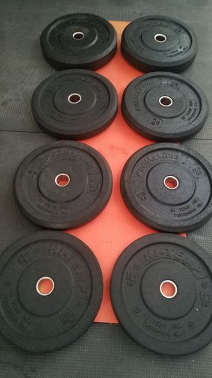 ( EXERCISE FITNESS 365 ) NEW CONDITION SET OF HI-TEMP OLYMPIC BUMPER PLATES for Sale in Long Beach, CA
