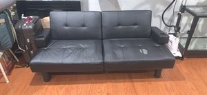 Black leather Futon with cup holder stand for Sale in West Springfield, VA