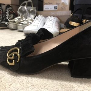 Authentic Gucci Kid Scamosciato Marmont Women's Heels Black Suede Sz 38 $790 for Sale in Las Vegas, NV