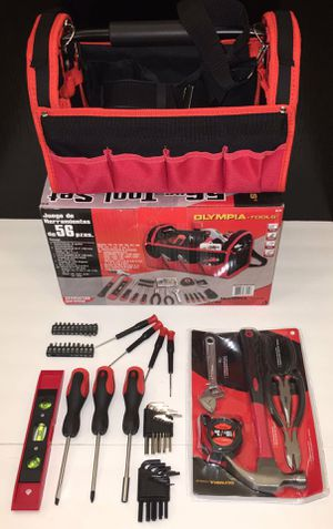 New in box 56 pcs olympia tool set screwdriver wrench hammock tool carrying bag case chest handyman for Sale in Whittier, CA
