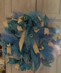 Handmade Peacock Inspired Deco Mesh Wreath for Sale in Martinsburg,  WV