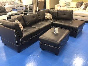 Brand new leather sectional sofa with ottoman for Sale in Dallas, TX