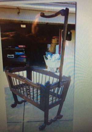 Vintage antique Bobbin turned carved oak old wood Victorian folding baby bed crib cradle doll display furniture for Sale in Bedford, TX