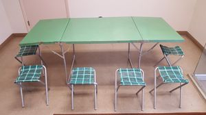 Vintage Folding Camp Table & 6 Stools for Sale in St. Louis, MO