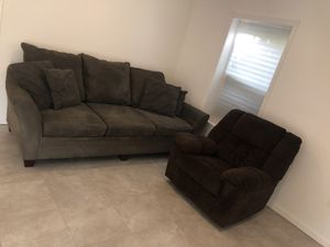 Green Suede Couch & Brown Recliner for Sale in Alexandria, VA
