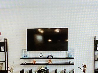Living Room Furniture -- 3 Wall Mount Shelves, 2 Book Case Units, 1 Big Wooden TV Stand for Sale in Discovery Bay,  CA