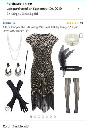 Halloween Costume Plus Size Flapper Dress and Accessories for Sale in West Melbourne, FL