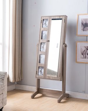 Elegant Jewelry Cheval with Photo Frame Door, Dark Taupe for Sale in Santa Ana, CA