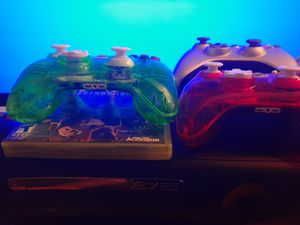 Xbox 360 1 game 1 Wireless controller and 2 Wired controllers for Sale in Philadelphia, PA