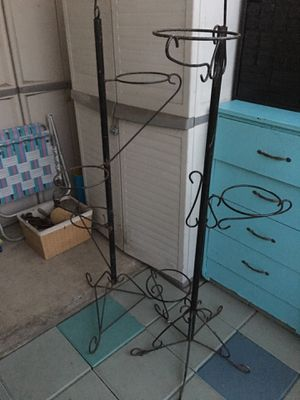 Two 3 - planter metal plant stands for Sale in Azusa, CA