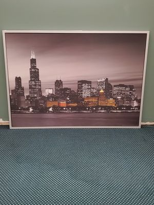 "HUGE (39.5"" H x 55"" W x 1.25"" D), FRAMED WALL ART - PHOTO PRINT of CHICAGO at NIGHT - firm price. for Sale in Arlington, VA"