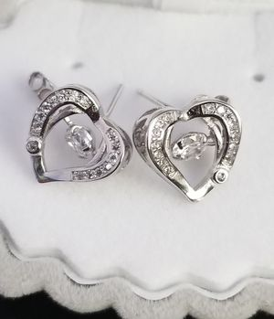 Heart Shape S925 Stamped Sterling Silver VVS1 Lab Diamond Stud Earrings for Sale in Silver Spring, MD
