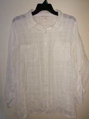 Size 18 white linen shirt for Sale in San Leandro, CA