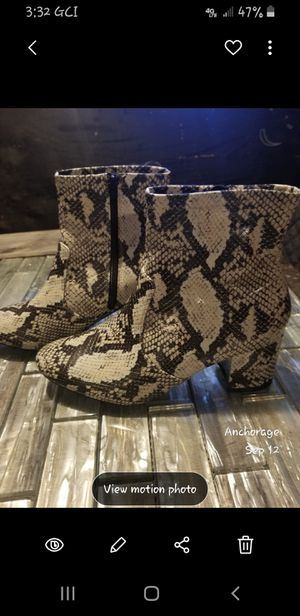 Snake print ankle boots block heel for Sale in Anchorage, AK