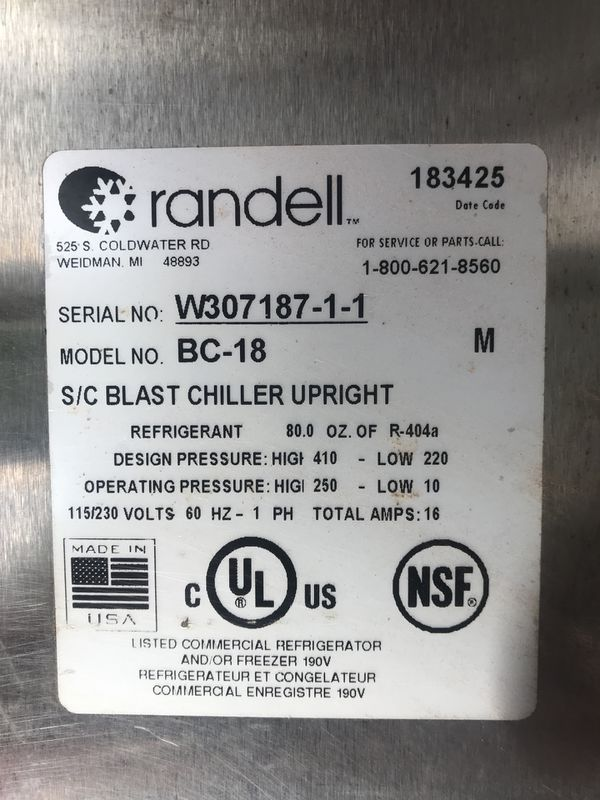 Randell BC-18 Upright Blast Chiller
