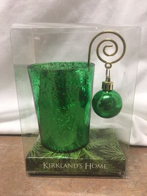 Kirkland's green mercury glass hanging ball ornament candle holder New In Box for Sale in El Mirage, AZ