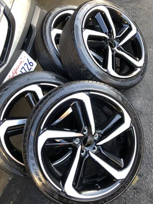 Rims and tires 19x8 5x114 for Honda acord sport civic crv as is rashes scratches but good tires for Sale in Santa Ana, CA