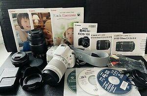 Canon Rebel SL1 DSLR Professional Camera Bundle with 3 Lenses White for Sale in Platte City, MO