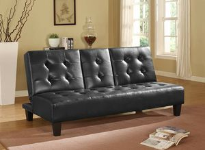 BLACK Faux Leather Futon Sofa Bed with Drop Down Cup Holder for Sale in Highland, CA
