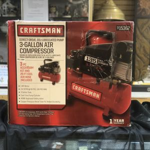 Craftsman 915362 3 GALLON 1.0 HP AIR COMPRESSOR, 135 MAX PSI NIB for Sale in Newport News, VA