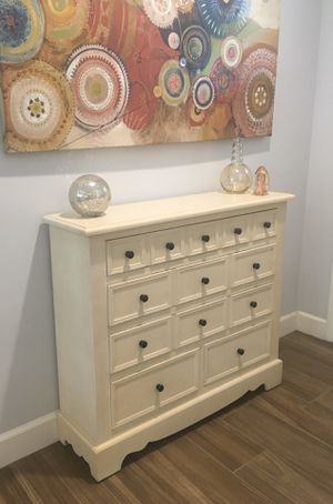 Super Functional Statement Piece! IVORY 5-Drawer Wood Shabby Chic Farmhouse Rustic Entry Table-Buffet-Media Console-Mudroom Storage-Dresser-Nightstand for Sale in Phoenix, AZ
